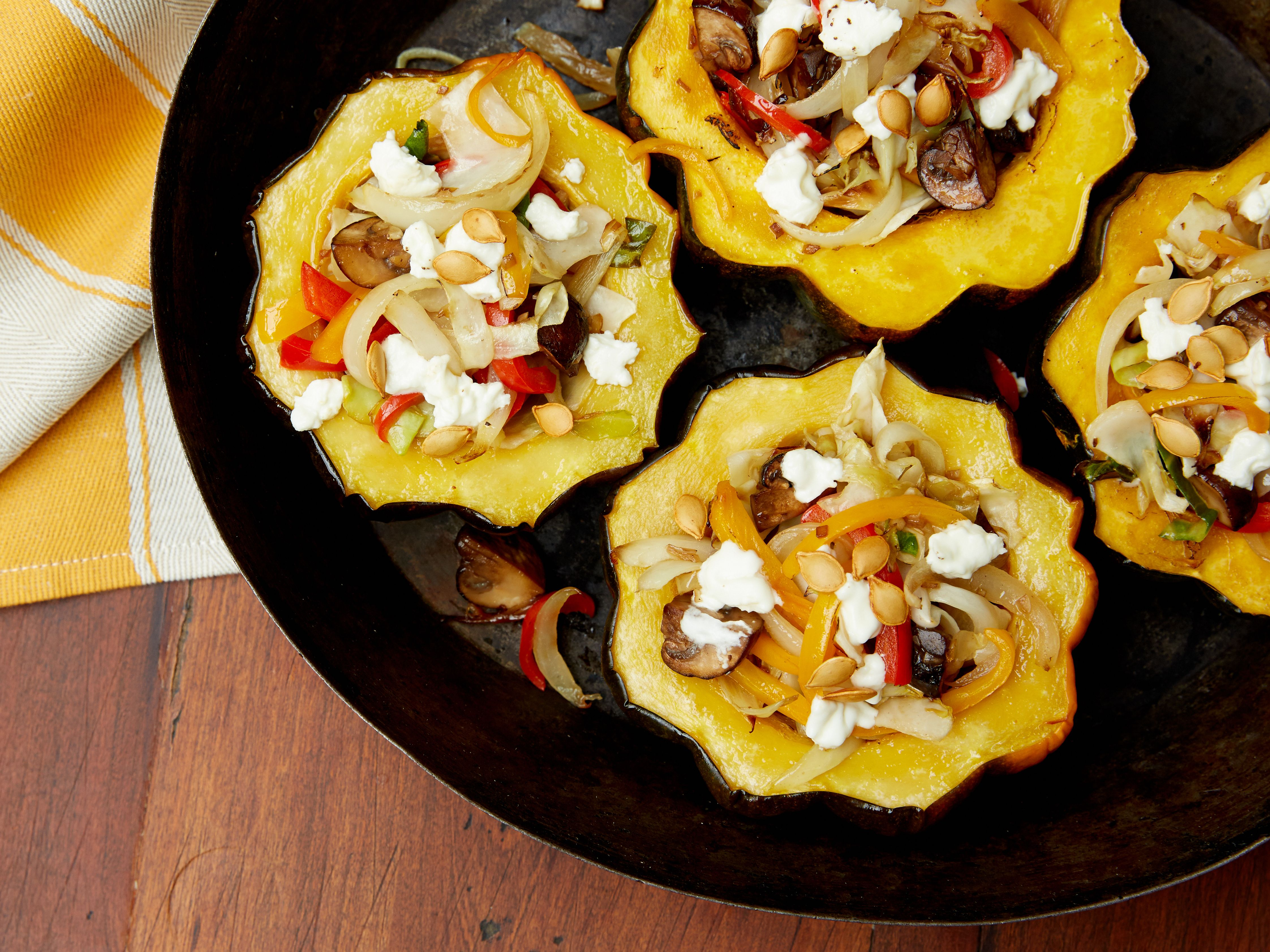 Roasted Acorn Squash With Mushrooms Peppers And Goat Cheese