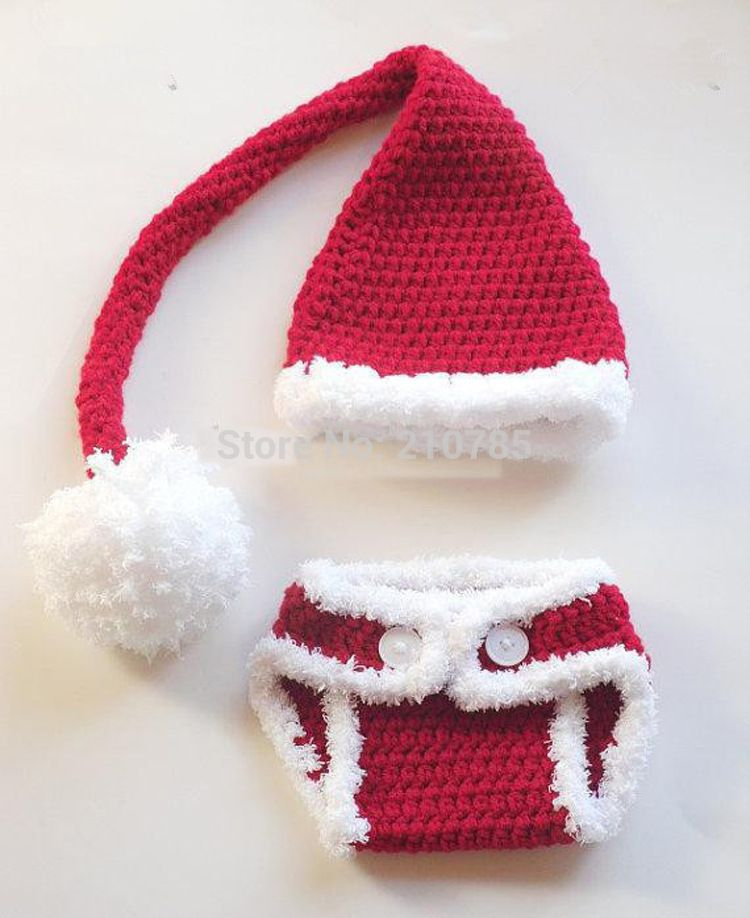 Click to Buy << Free shipping Crochet Santa Hat Diaper cover set ...