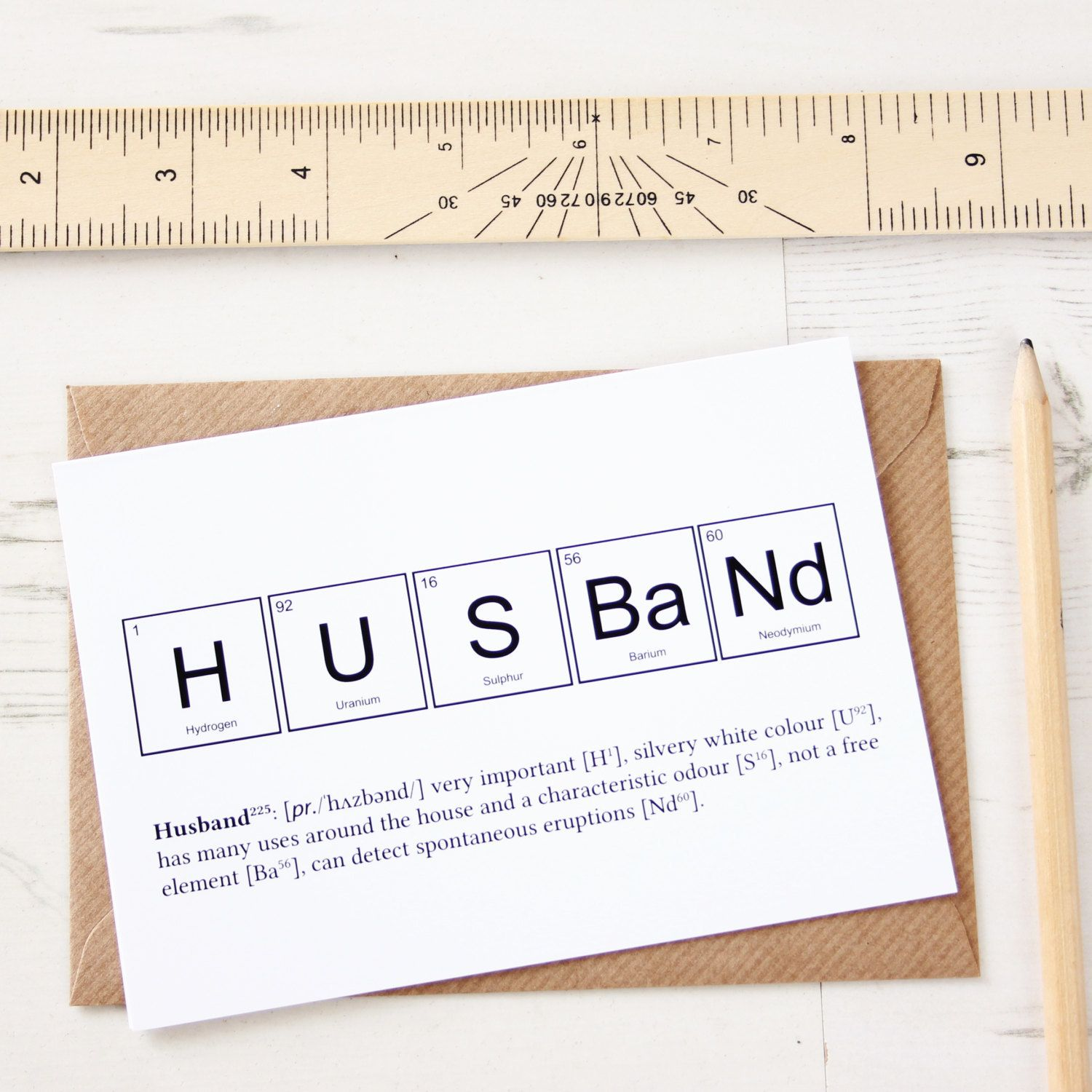 Elements of a husband card periodic table symbols and cards elements of a husband card buycottarizona Images