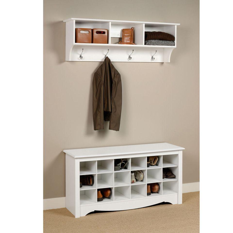 Entry hallway storage ideas  Prepac WSS White Wood Shoe Storage Cubbie Bench  Bench