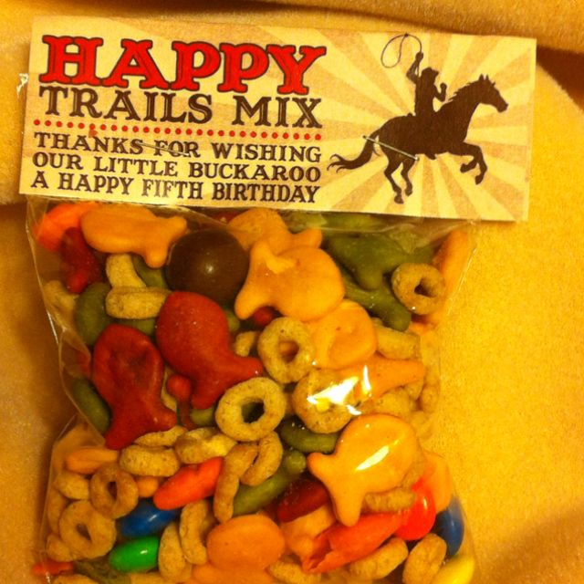 Trail mix for cowboy/girl party.  Got design from Etsy!
