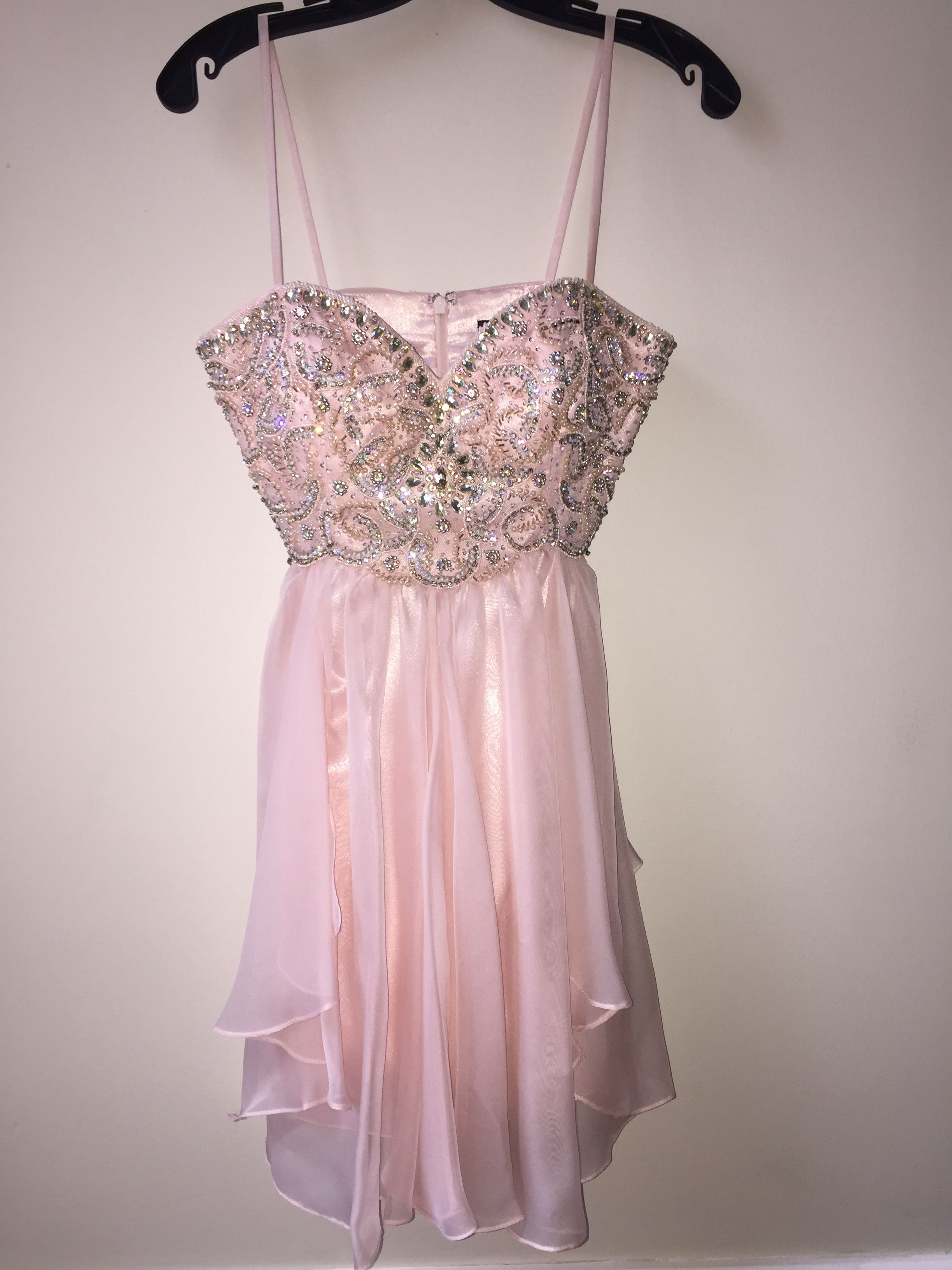 Blush-colored, short evening gown, available to purchase! http://www ...