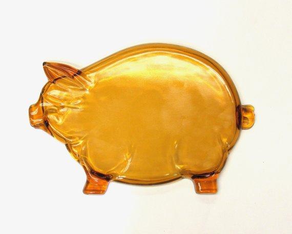 Vintage Amber Gl Pig Shaped Platter