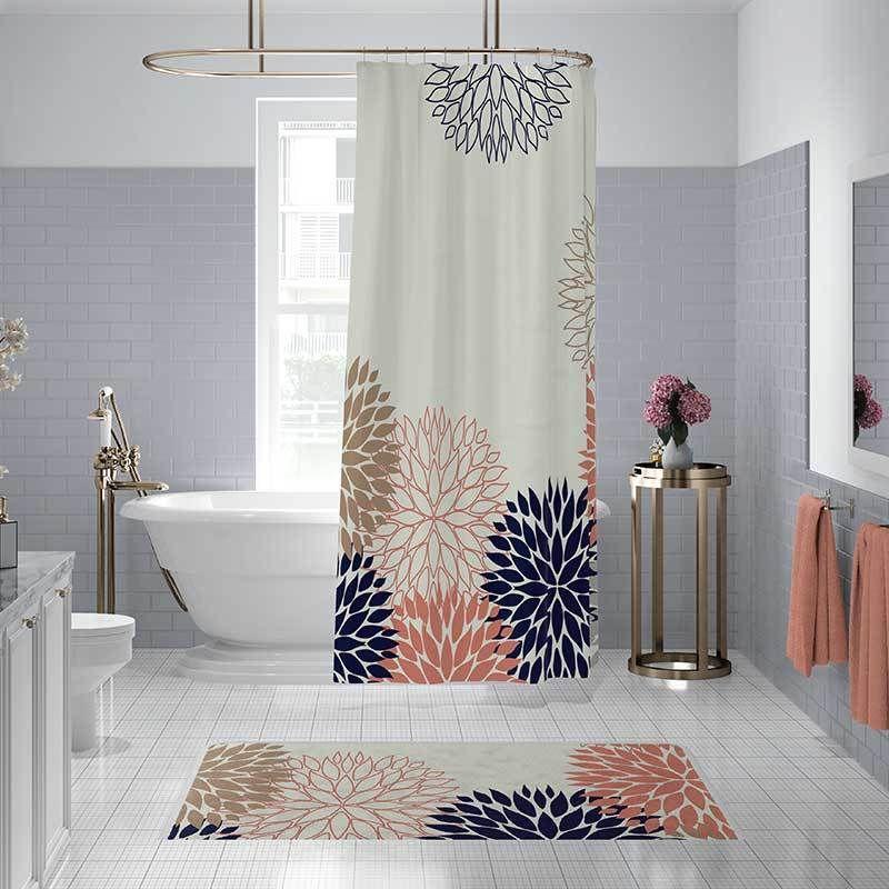 chrysanthemum shower curtain bath mat