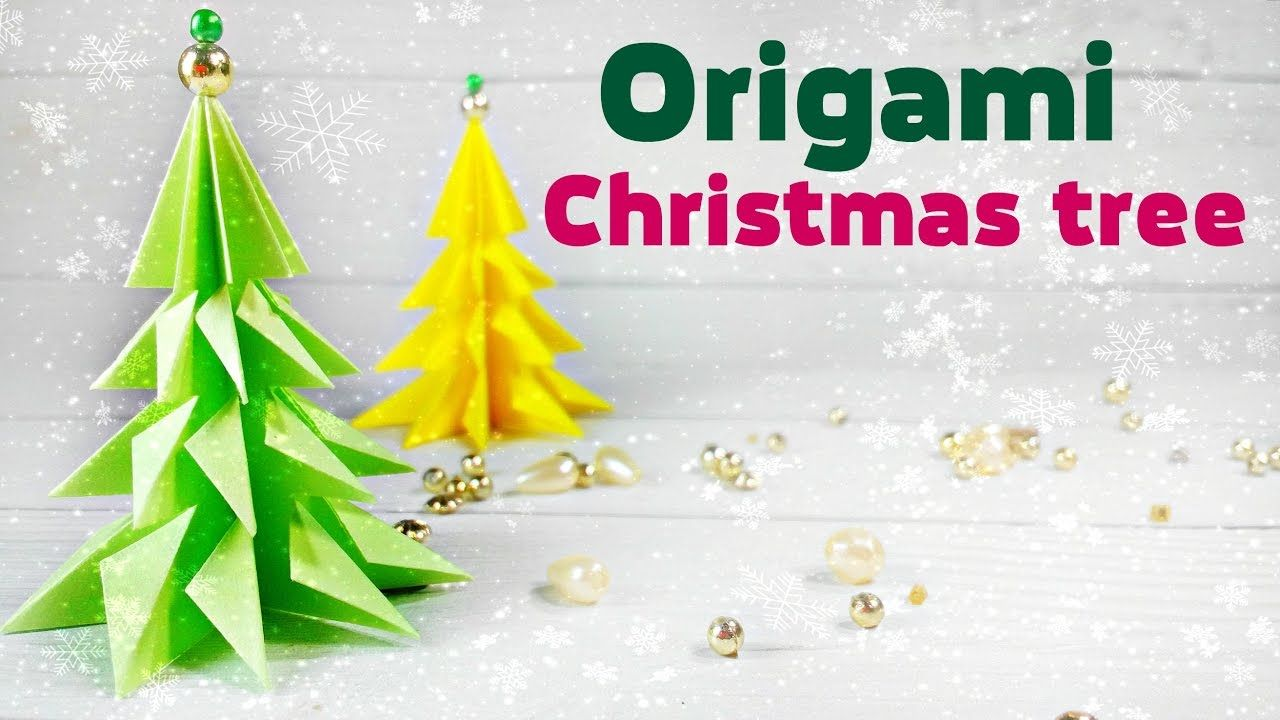 Origami Christmas Tree 3d Made Of Paper Easy Tutorial For Kids Fir
