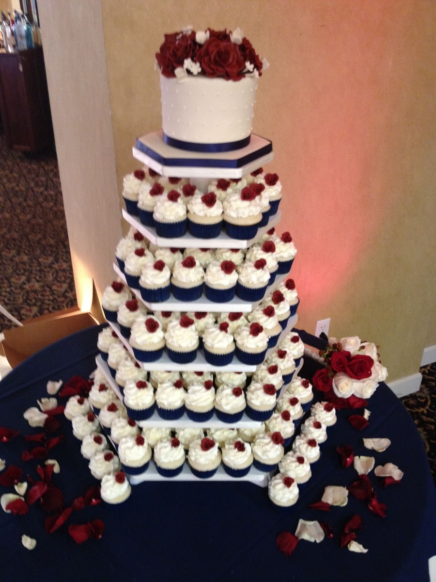 Navy Blue Burgundy Ivory Cupcake Tower Maybe Some Day In 2019