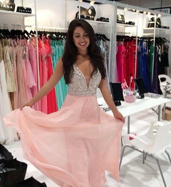 Beading A-line Chiffon Prom Dresses 2017 | Prom | Pinterest