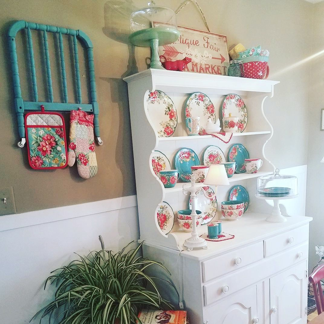 Cute Hutch Pioneer Woman Dishes Kitchen Women Teal