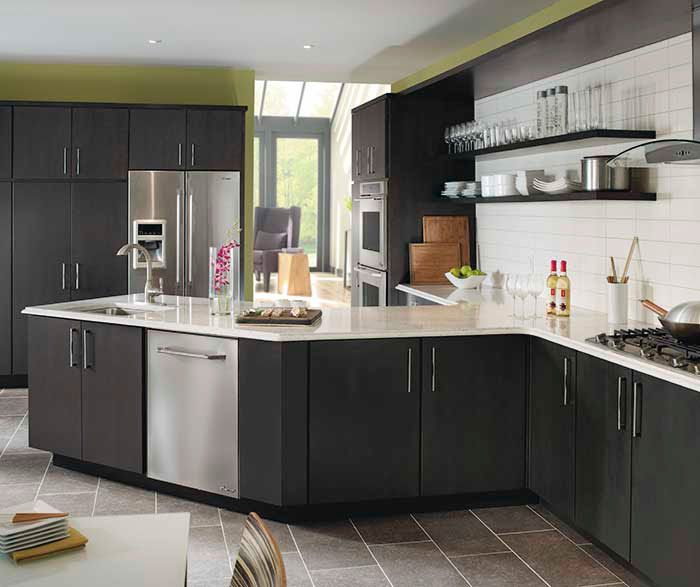 gray kitchen cabinets. If contemporary design is your calling  you ll love the sleek efficiency of these Kemper kitchen cabinets Featuring a Caprice slab door finished in maple