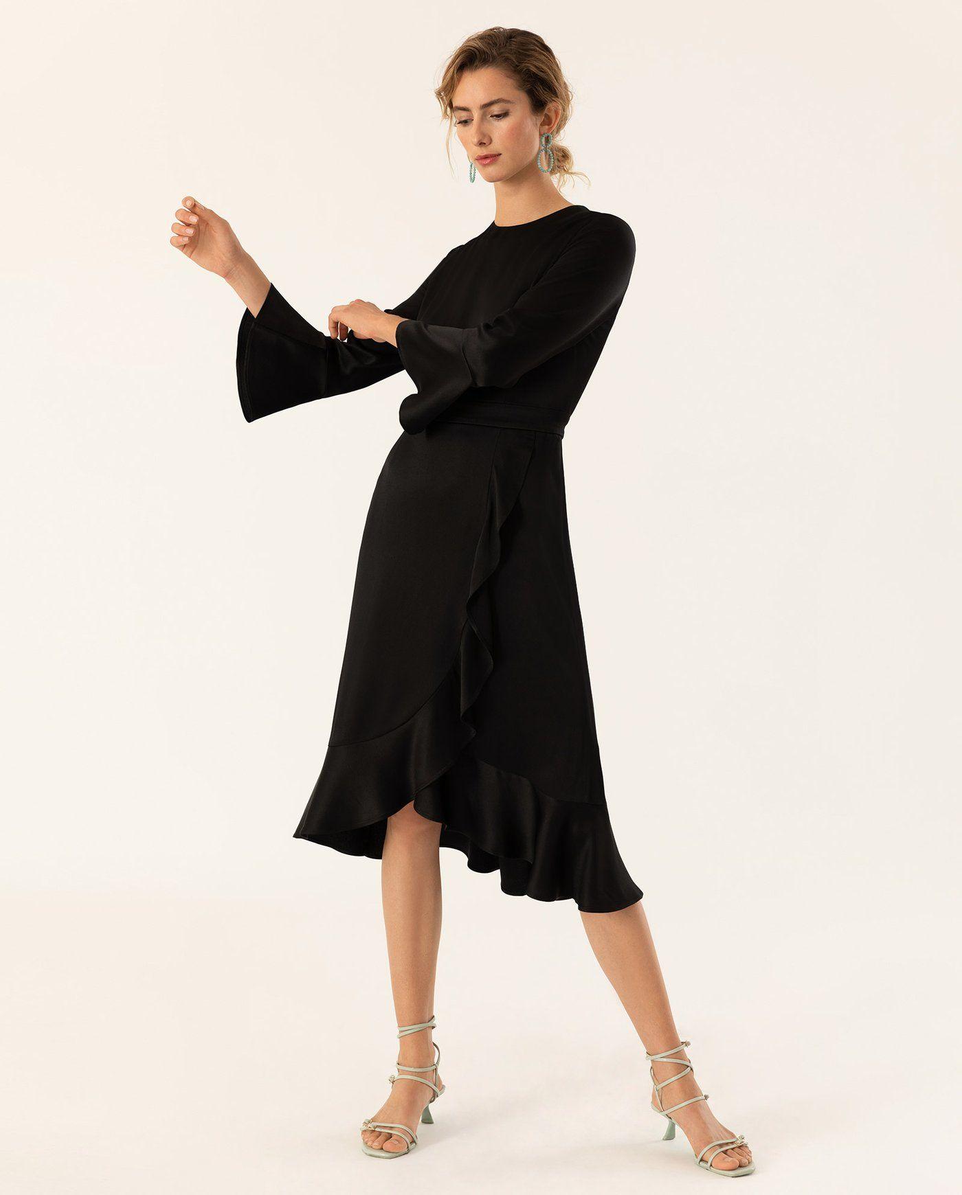 Knielanges Kleid mit Volants schwarz – IVY & OAK  Knielanges