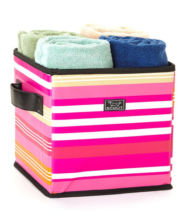 Love this Pink Stripe Collapsible Storage Bin by Scout by Bungalow
