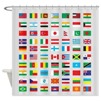 World Flags Shower Curtain Patriotic Flag Countries Travel