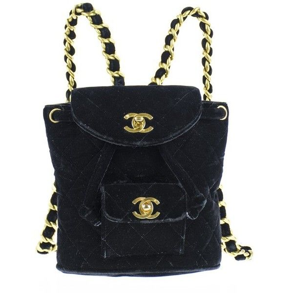 4d04cb2eb59f Chanel Vintage Velvet Mini Backpack ( 500) ❤ liked on Polyvore featuring  bags
