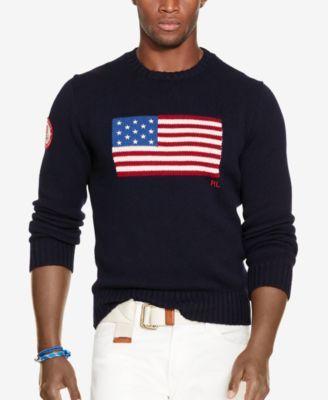 8b16e931934f8e Polo Ralph Lauren Men s Team USA Flag-Graphic Sweater   American ...