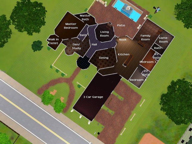 Sims 3 floor plan ideas google search i love the shapes for Mansion floor plans sims 3