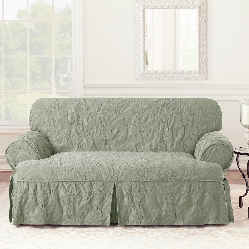 Sure Fit Matelasse Damask T Cushion Loveseat Slipcover Loveseat