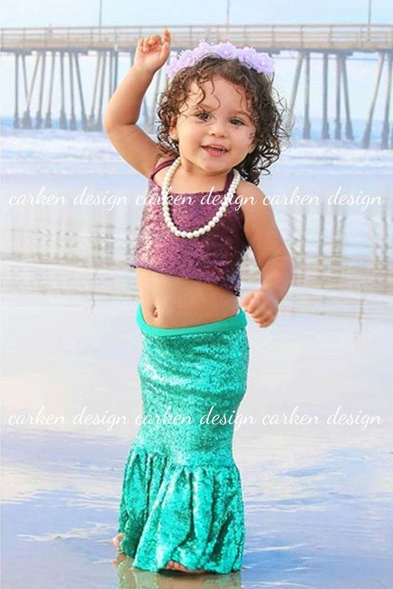 mermaid top party mermaid halloween costume shirt halter sequin mermaid crop top tank top shirt birthday costume baby toddler girl  sc 1 st  Pinterest : toddler mermaid halloween costume  - Germanpascual.Com