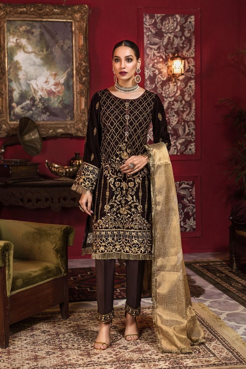 Beautiful Pakistani embroidered velvet outfit in gold