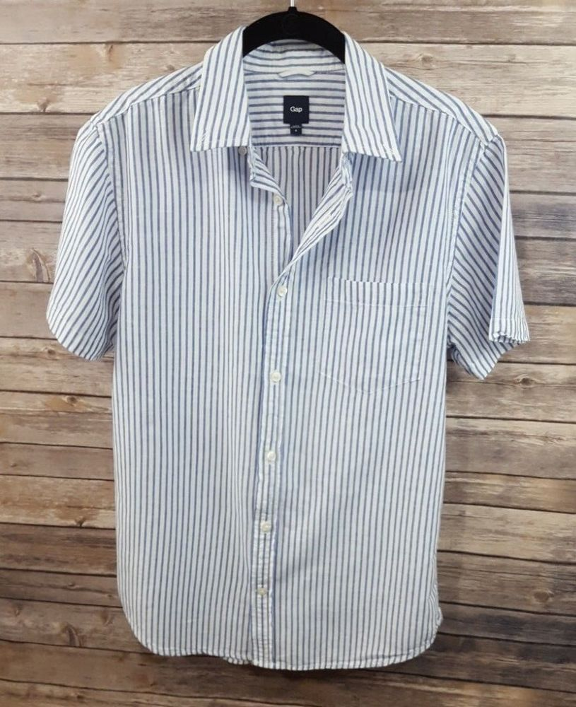 41d9f52911 Gap-Men's Short Sleeve Button Down Blue and White Striped Shirt-Cotton/Linen-SM  #fashion #clothing #shoes #accessories #mensclothing #shirts (ebay link)