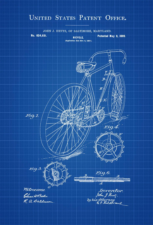 Bicycle Patent - Vintage Bicycle, Bicycle Blueprint, Bicycle Art ...