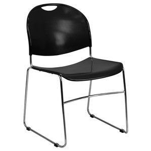 Flash Furniture Hercules Series 880 lb. Capacity Black High Density, Ultra Compact Stack Chair with Chrome Frame RUT-188-BK-CHR-GG