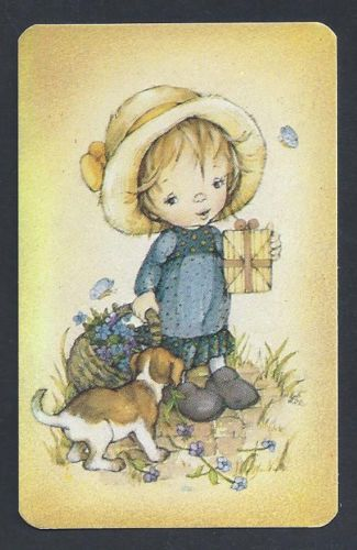 800-042-Blank-Back-Swap-Card-NEAR-MINT-Lee-Girl-with-basket-gift-puppy
