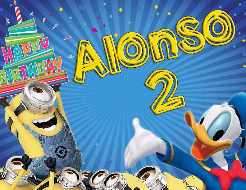 MInions donald duck minion birthday invitation cumpleaños feliz invitación two years dos años