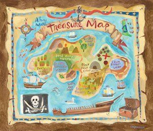 Treasure Map Personalized Canvas Wall Art - Wall Sticker Outlet