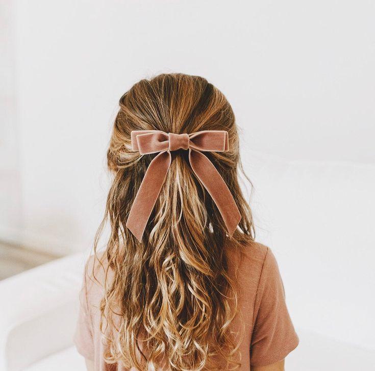 Little Babes Velvet Long Bow  Hair Tie  Barrette  Upscale | Etsy