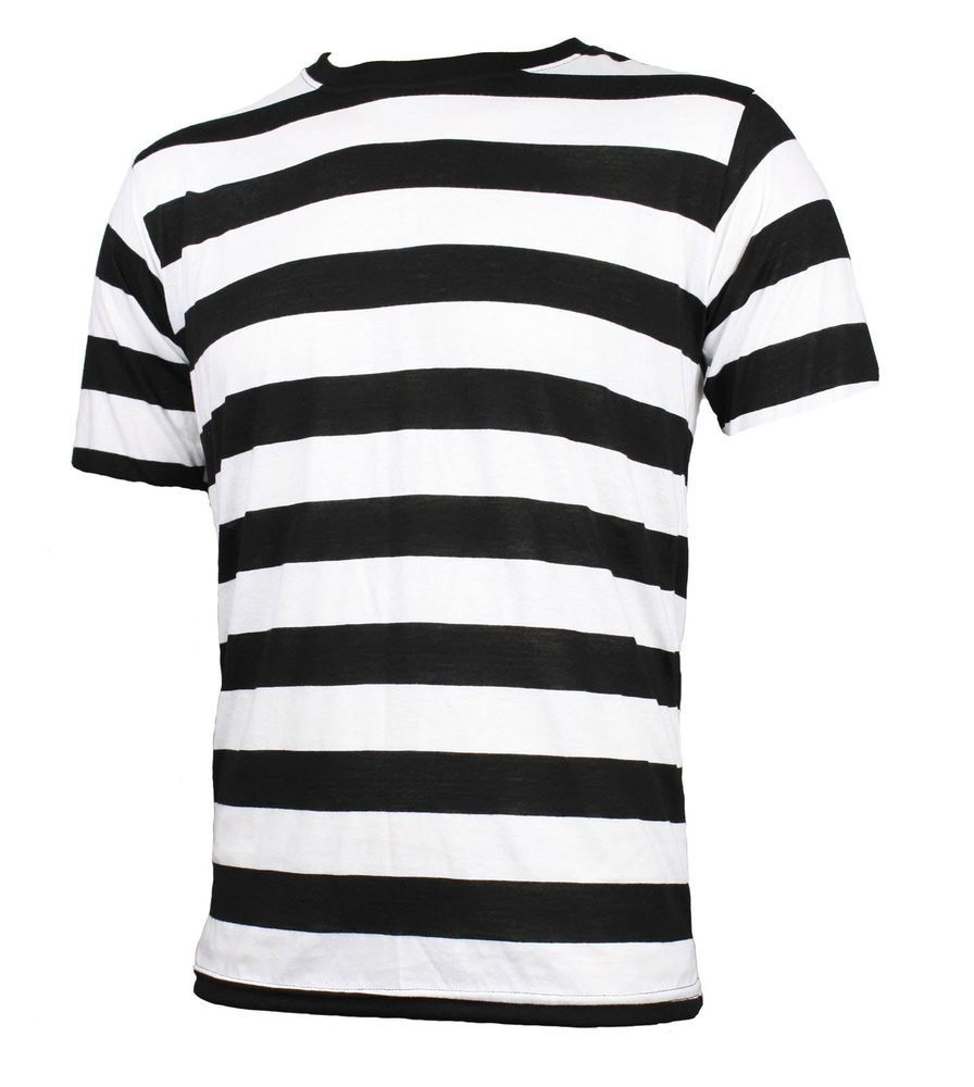 abc3fa17bf NYC Short Sleeve PUNK GOTH Emo mime Stripe Striped T Shirt Black White S M  L XL in Clothing, Shoes & Accessories, Men's Clothing, T-Shirts | eBay