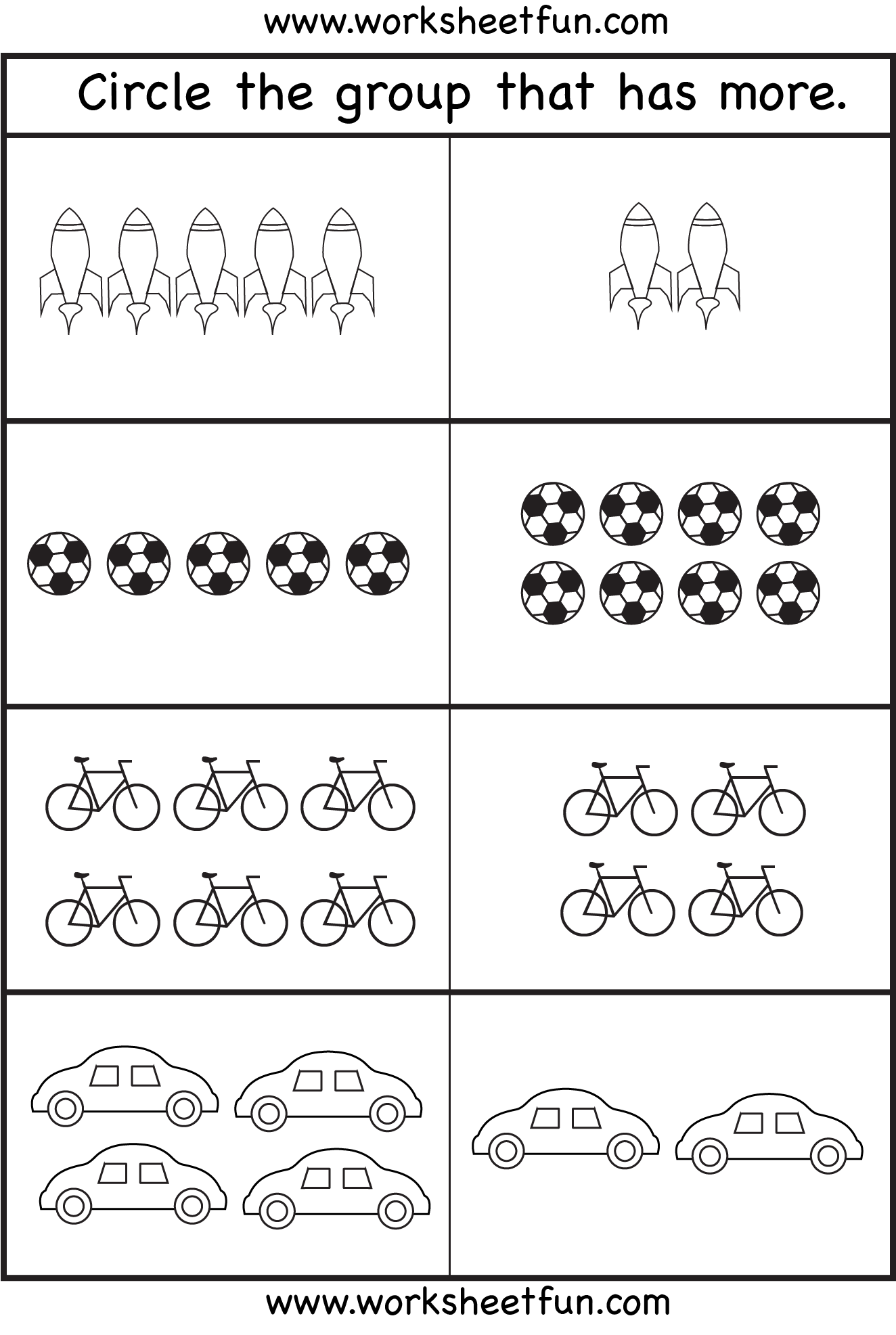 Comparison Worksheets – More or Less – 4 Worksheets   Kindergarten math  worksheets [ 1973 x 1324 Pixel ]
