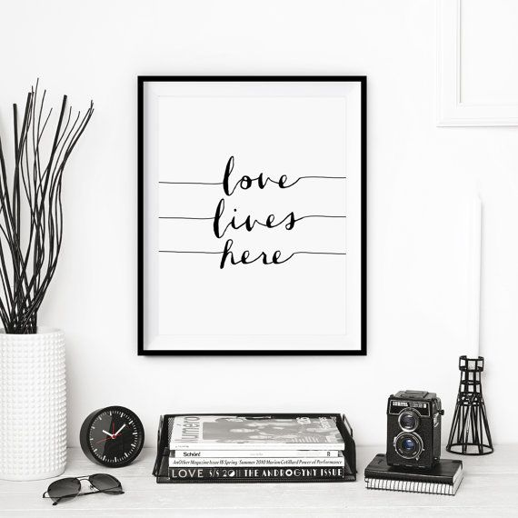 Typography Print Home Decor Love Lives Here by TheMotivatedType