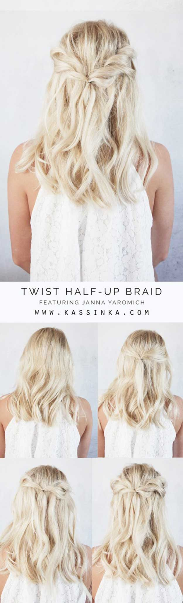 Best summer hairstyles halfup twists tutorial for short hair