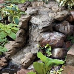 garden with fountains | Rocky Pond With Waterfall Garden Fountain