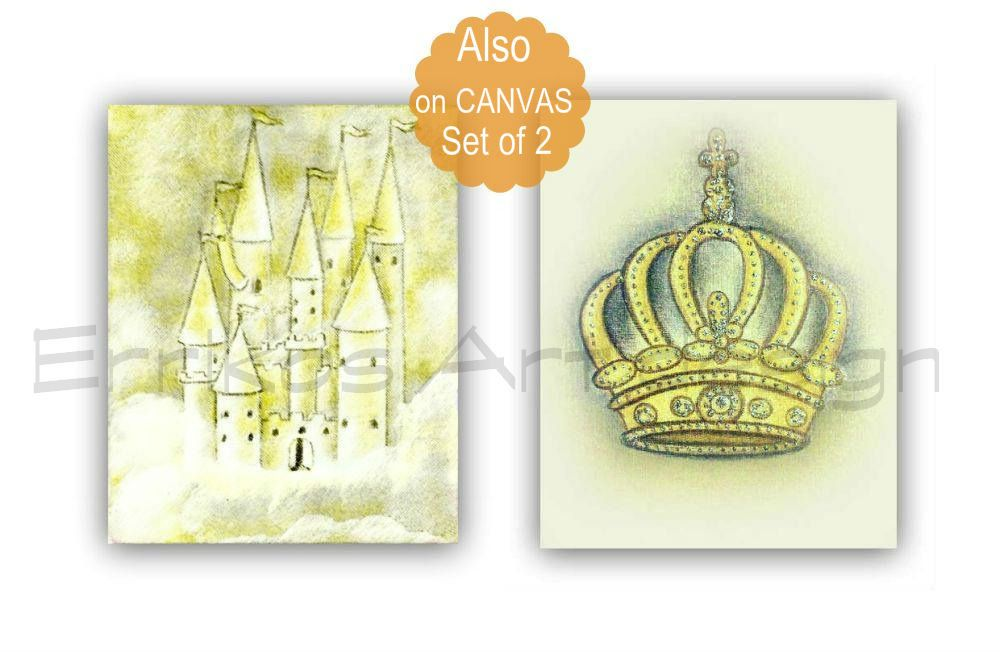 Royal Crown, Castle Wall Art, Little Prince Nursery Decor, SET 2 ...