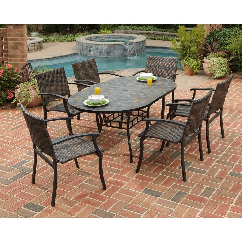 Homestyles Stone Harbor 7 Piece Slate Tile Top Rectangular Patio