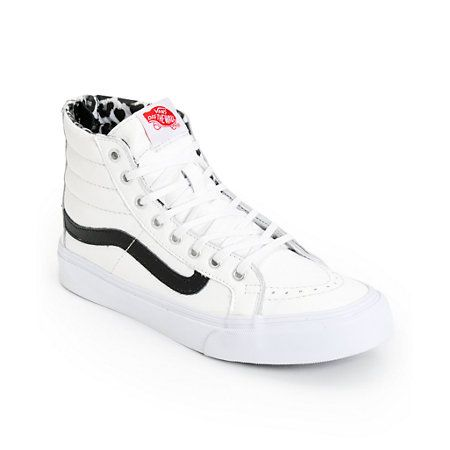 vans sk8 hi slim white leather