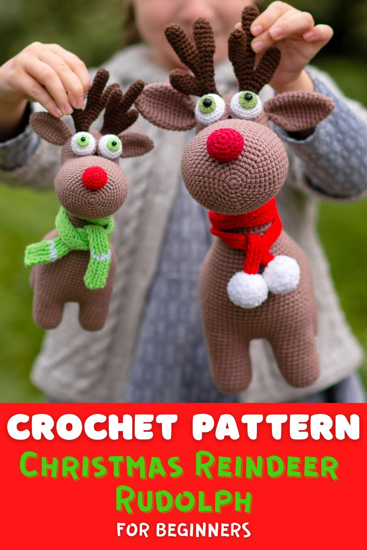PDF Crochet Pattern PDF Rudolph the Red Nosed Reindeer Crochet Pattern