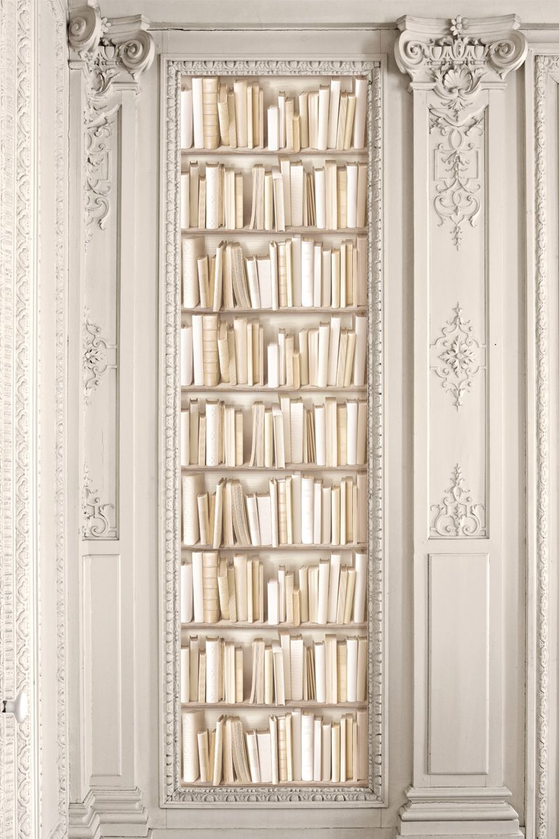 papier peint koziel trompe oeil bibliotheque ivoire 800 1200 love it pinterest. Black Bedroom Furniture Sets. Home Design Ideas