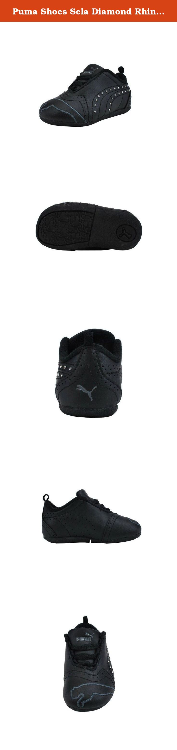 79dfc320c14 Puma Shoes Sela Diamond Rhinestone Infant Toddler Black Sneakers (4 M US  Toddler).