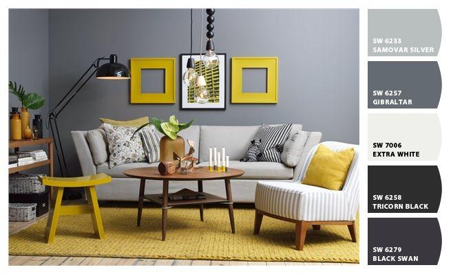 C mo combinar gris y amarillo salas pinterest for Decoracion de salas en gris y amarillo
