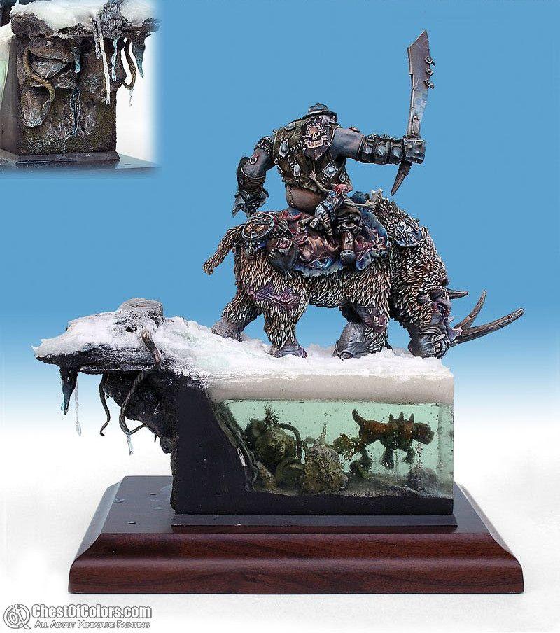 Ogre Rhinox Rider Ogre, Warhammer fantasy, Lion sculpture
