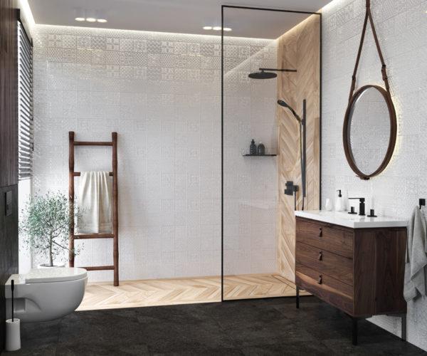 Plytki Chevron Drewno Bezowe Gres Plytki W Jodelke Francuska Bathroom Design Decor Bathroom Inspiration Round Mirror Bathroom