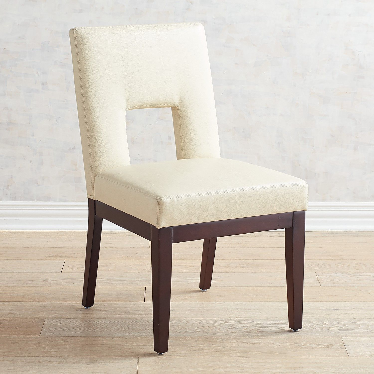 Bal Harbor Avanti Ivory Vegan Leather Dining Chair With Espresso