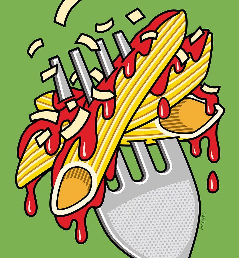 Pasta On Green By Ron Magnes Pop Art Food Pop Art Comic Pop Art