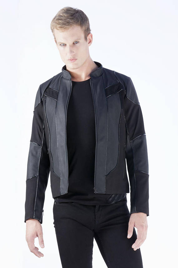 9c5341f6fe43 Mens motorcycle jacket made from black neoprene self, black rubber contrast  and black vegan leather