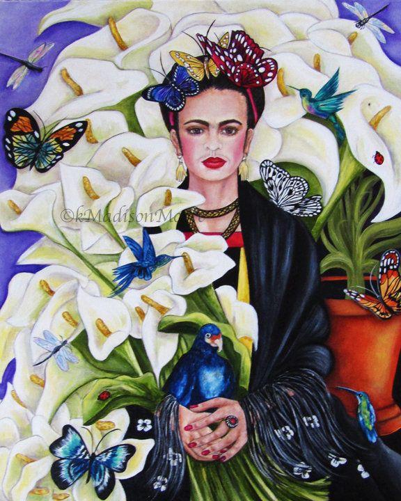 Frida Kahlo print, Frida Kahlo art, Mexican wall a