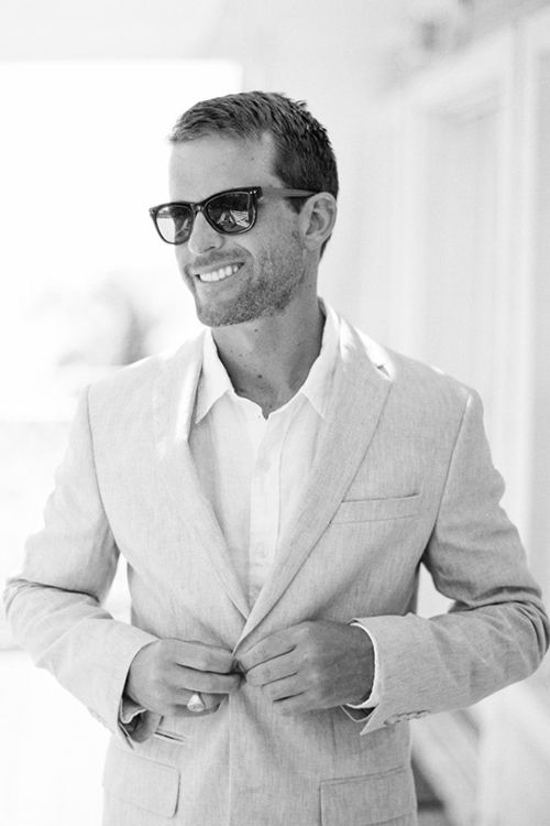 A Glam Wedding on the Beach in the Bahamas | Linen suit, Wedding ...