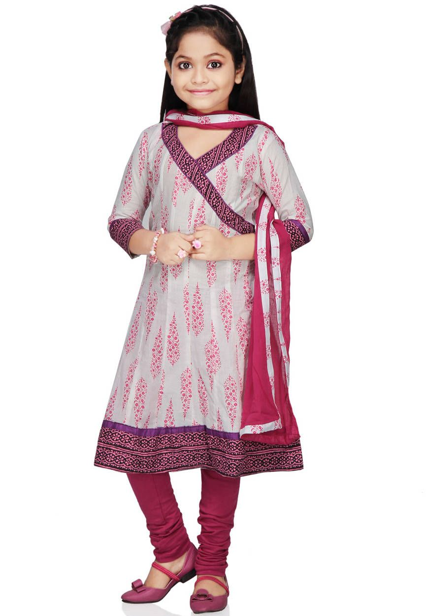 White cotton readymade anarkali churidar kameez uvt4 for Girls suit design