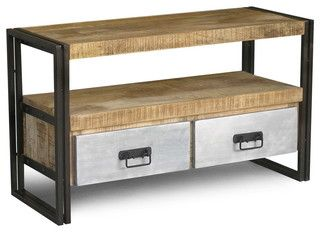 Reclaimed Wood And Iron TV Console With Metal Drawers   Eclectic   Furniture    San Francisco